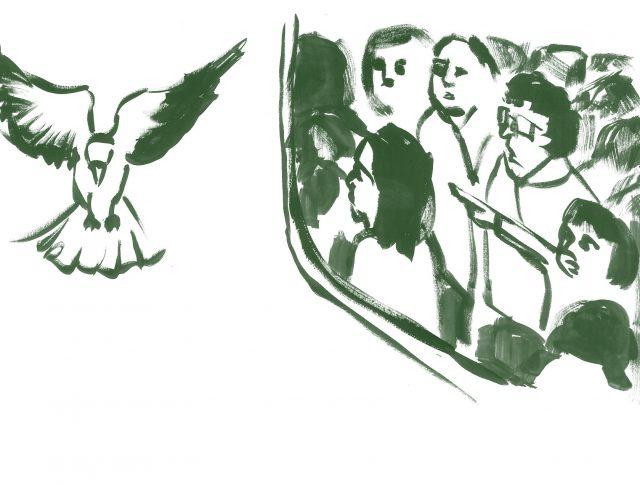 Persones observant el vol d'un ocell